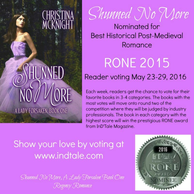 Christina McKnight Nominated Rone Award Regency Historical Romance Novel Author Book